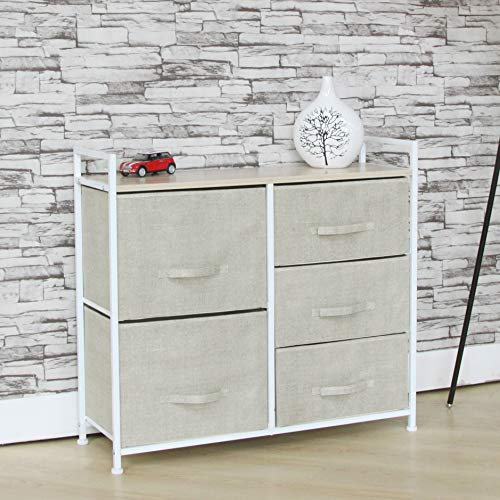 Fancy Linen 5 Cream Drawer Storage Chest Vertical Organizer Unit with Fabric Bins and Wood Top for Bedrooms, Hallways, Living Room, Nursery Room, Playroom and Closets New
