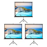 3 Pack Projector Screen, TaoTronics Indoor and Outdoor Movie Screen 100 Inch Diagonal with a Premium PVC Matte Design (Wrinkle-Free, Easy to Clean, 1.1 Gain, 160 Degree Viewing Angle)