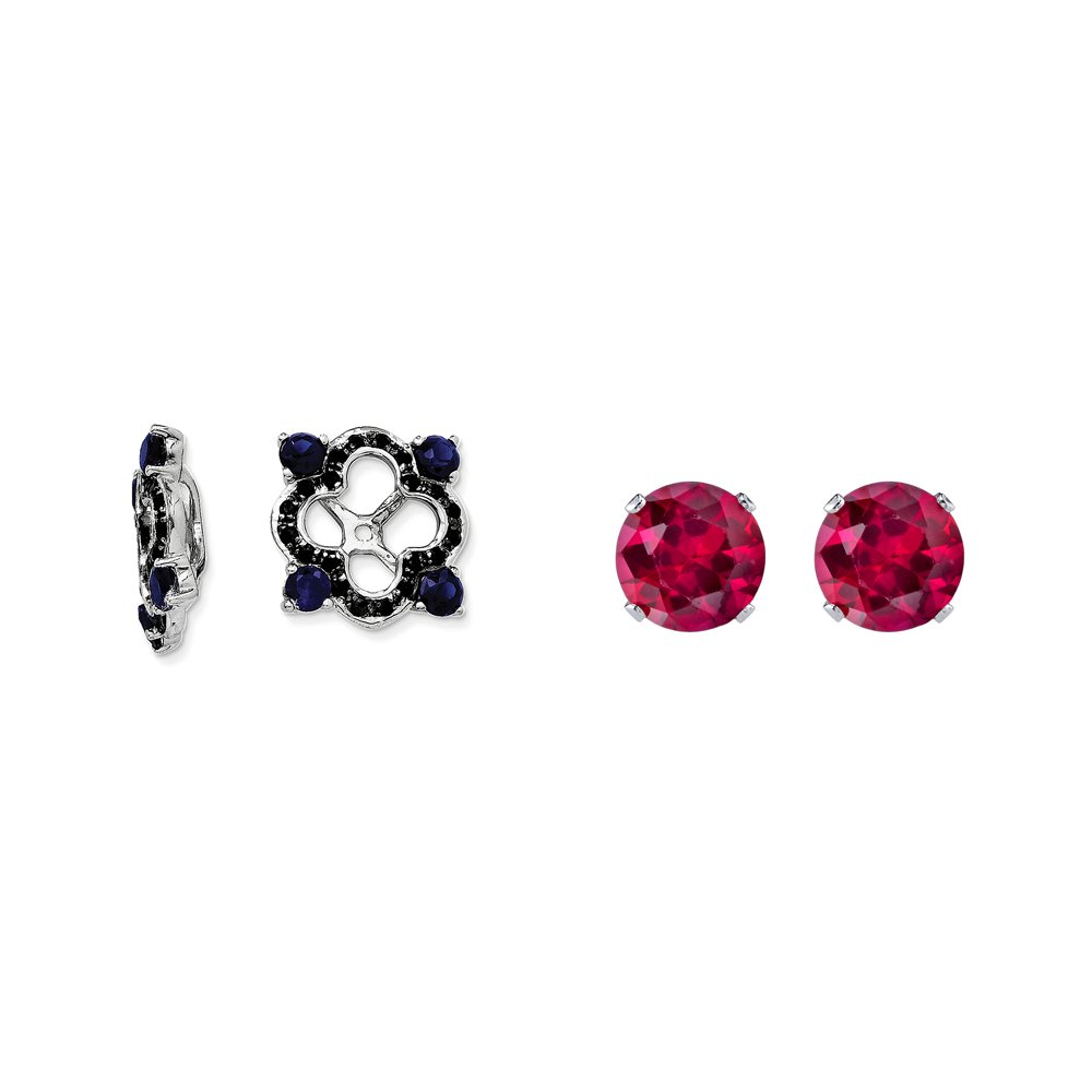 Sterling Silver Blue Simulated Sapphire, Black Simulated Sapphire Earring Jacket + 2mm Red CZ Studs
