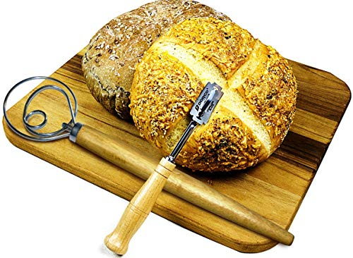 Bread Lame Tool Baker Dough Knife Scoring Premium Hand Crafted with 5 Blades and Bonus Whisk by Staehler Enterprises