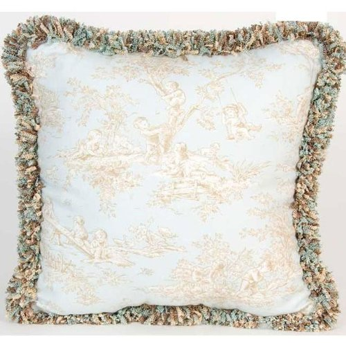 Glenna Jean Chocolate (Glenna Jean Central Park Pillow Toile with Fringe, Blue/Chocolate/Tan/White)