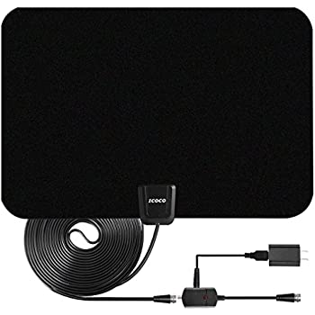 TV Antenna, ICOCO Indoor Amplified HDTV Antenna 50 Mile Range with Detachable Amplifier Signal Booster, USB PowerSupply and 16.5FT High Performance Coax Cable