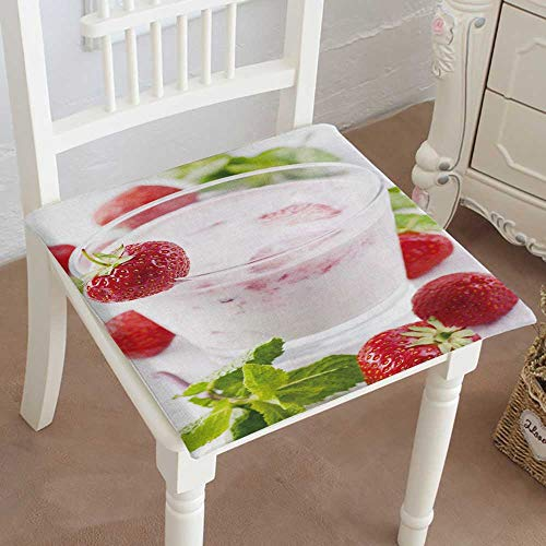 Mikihome Outdoor Chair Cushion Strawberry Yoghurt in Glass with Strawberries Comfortable, Indoor, Dining Living Room, Kitchen, Office, Den, Washable ()