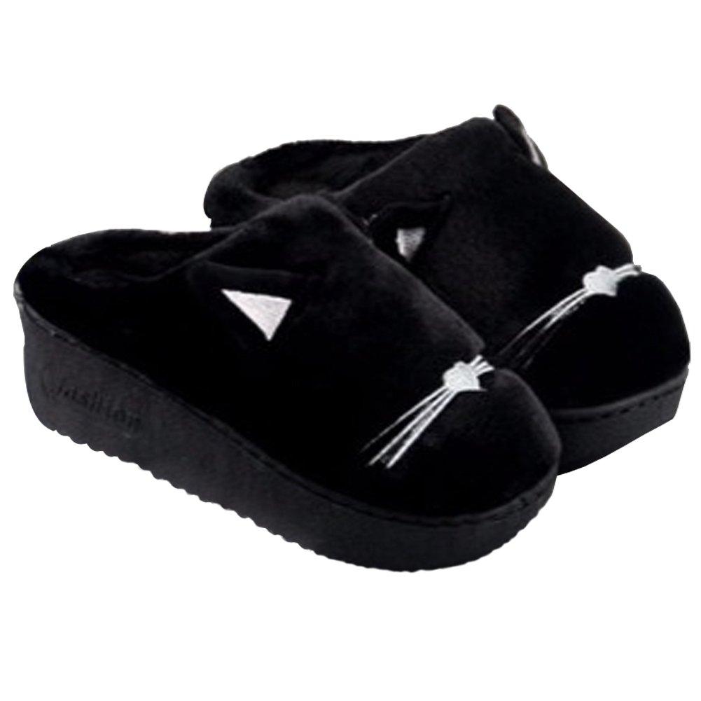 Anddyam Women's Velvet Short Plush Lining Slip-on Memory Foam Clog Indoor Slippers (5-6.5 B(M) US, Black High Heel)