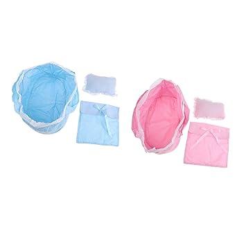 Amazon.es: NON MagiDeal Lindo Saco de Dormir con Almohadas y Edredones Adornos para Muñecas Muchachas de 26-28cm Color Rosa y Azul: Juguetes y juegos