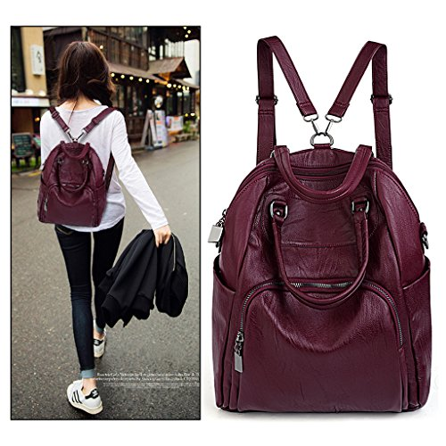 Backpack Women Ladies Red Leather PU Washed Shoulder Rucksack Purse UTO Convertible Bag Crossbody w05gx