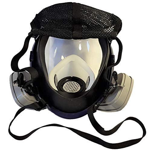 WiseLime Organic Full Face Respirator Mask for Chemicals, Smoke, Paint Spray and Tear Gas, Industrial Grade Quality Gas Mask including 2 Filters (Gas Mask + 1 Pair of #3 Filter Cartridges) by WiseLime (Image #2)