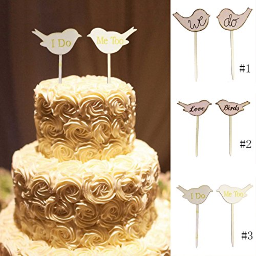 Fenteer Set of 2pcs Wooden Love Birds Cake Topper Cupcake Picks Wedding Engagement Cake Decoration - I DO ME TOO