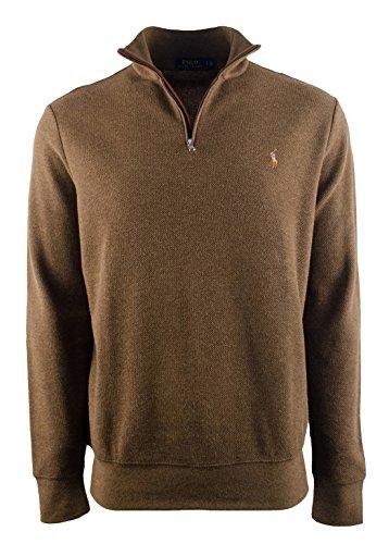 Ralph Lauren Men's Half Zip Suede Trim Mock Neck Pullover Cedar Heather S