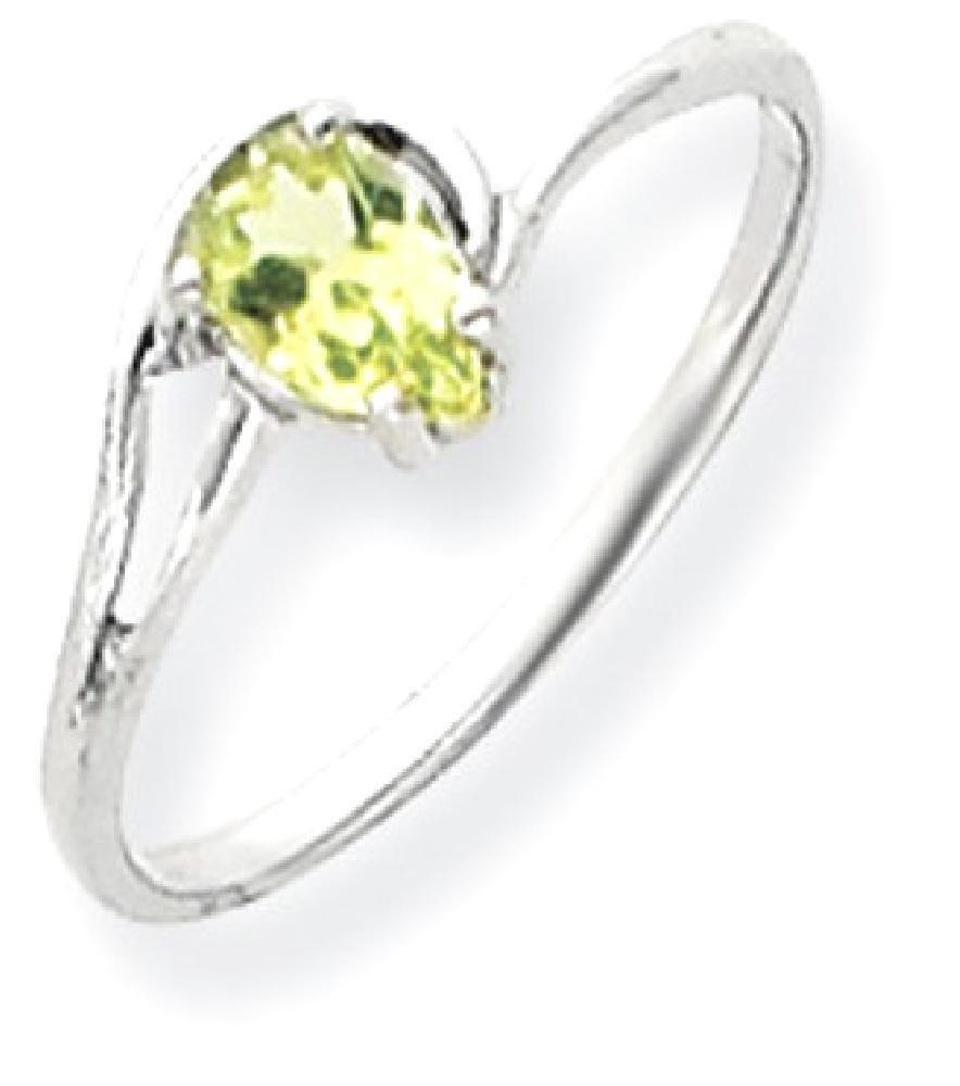 ICE CARATS 14k White Gold 6x4mm Pear Green Peridot Band Ring Size 6.00 Stone Gemstone Fine Jewelry Gift Set For Women Heart