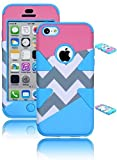 iPhone 5C Case - Bastex Heavy Duty Hybrid Dynamic Case for Apple iPhone 5c - Sky Blue Silicone / Gray & White Chevron Design with Pink & Sky Blue Accents Hard Shell