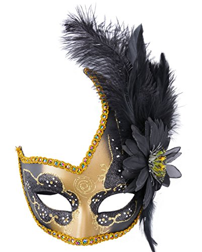 Venetian Carnival Mardi Gras Mask (Venetian Masquerade Masks Mardi Gras Costume with Feather Flowers)