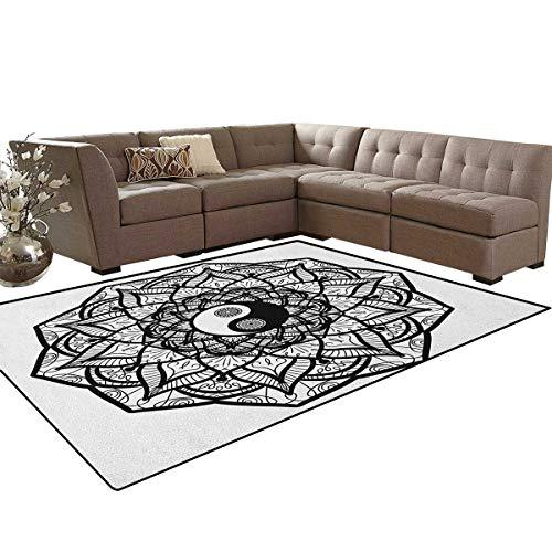Ying Yang,Rug,Floral Design Boho Mandala Graphic Art Yin Yang Curves Meditation Mystic World,Oriental Floor and Carpets,Black White Size:6'6