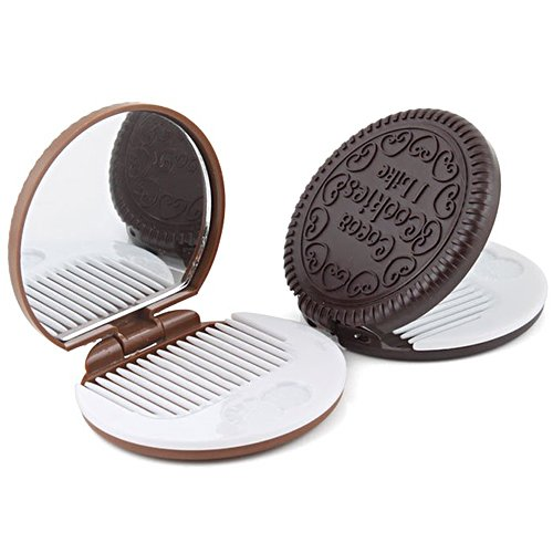 Cute Cookie Shaped Design Mirror Portable Makeup Chocolate Shape Comb Set liyhh