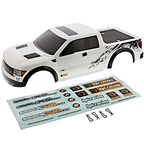 HPI Savage XS Flux Mini * FORD F-150 SVT WHITE RAPTOR BODY & CLIPS * Shell Cover