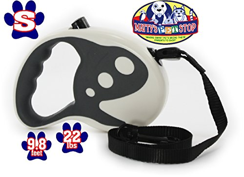 Retractable 1 Cord Long Comfort (Matty's Pet Stop Retractable Dog Leash, 9.8 Ft for Small Dogs up to 22 Pounds, Tangle Free, One Button Break & Lock - White & Grey)