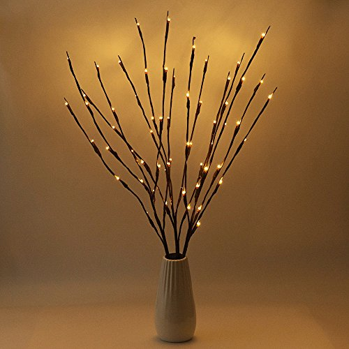 BLOOMWIN 3PACK Lighted Branch Twig Lights 30in 77cm Battery Powered Lit Tree Twig 20LED Warm White Brown Wrapped Fake Branches for Home Bouquet Vase Decor