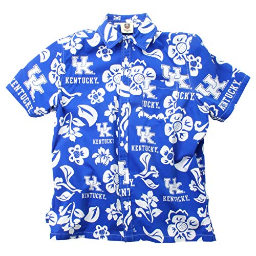 - Wes and Willy NCAA Mens Short Sleeve Button Up Floral Beach Shirt (X-Large, Kentucky Wildcats)