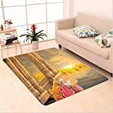 Nalahome Custom carpet Ancient India Women in a Temple Holy Heritage Architecture Arabesque Picture Earth Yellow Pink area rugs for Living Dining Room Bedroom Hallway Office Carpet (5' X 7')
