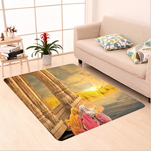 Nalahome Custom carpet Ancient India Women in a Temple Holy Heritage Architecture Arabesque Picture Earth Yellow Pink area rugs for Living Dining Room Bedroom Hallway Office Carpet (5' X 7') by Nalahome