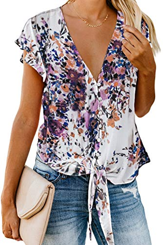 HOTAPEI Womens Juniors Summer Casual Floral Sexy Deep V Neck Button Down Flutter Short Sleeve Front Tie Chiffon Tops Shirts and Blouses Loose US 12 14