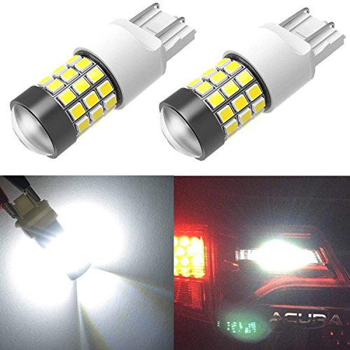Alla Lighting T20 7440 7443 Strobe Brake Light LED Bulbs Super Bright 2835 39-SMD High Power LED 7440 7443 LED Strobe Flashing Brake Stop Light Bulbs for Cars, Trucks, 6000K Xenon White (Set of 2)