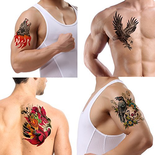 TAFLY Large Tattoo Stickers Wolf Eagle Skull Carp Designs Waterproof Temporary Tattoos Full Back Chest Body for Men 4 Sheets