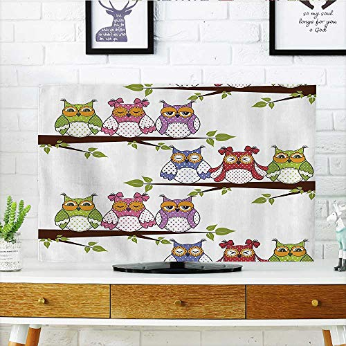 (Front Flip Top Owls The Tree Branches Sitting in Horiztal Line Friendship Event Themed Front Flip Top W35 x H55 INCH/TV 60