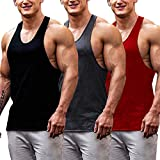 COOFANDY Men's 3 Pack Gym Tank Tops Y-Back Workout Muscle Tee Fitness Bodybuilding T Shirts (Black/Red/Dark Gray, Large)