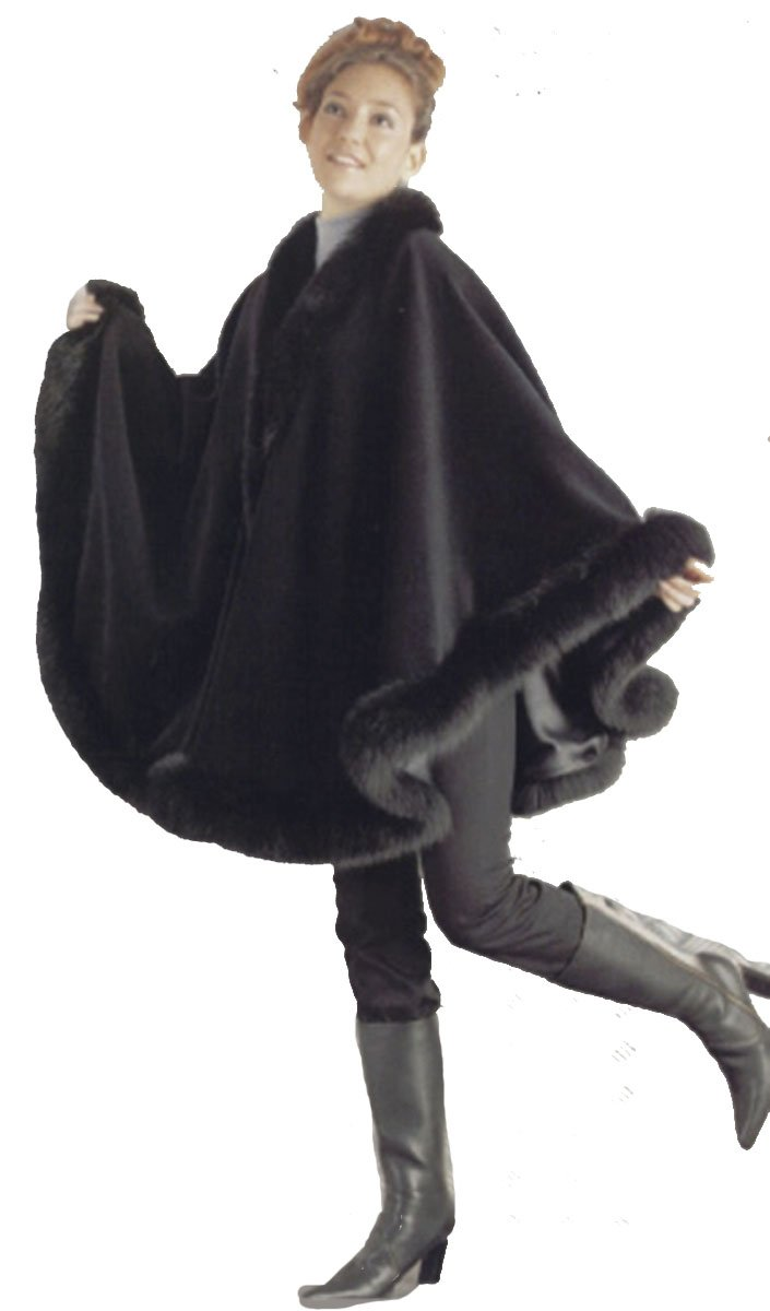 Cashmere Cape with Fox Fur trimming from Cashmere Pashmina Group (Black) by Cashmere Pashmina Group