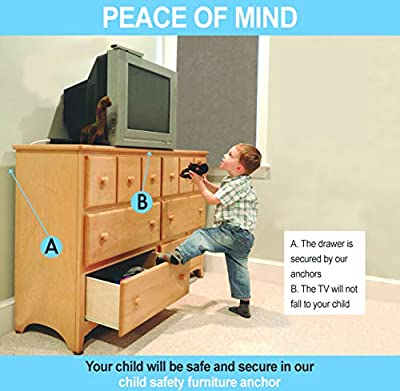 Furniture Anchors For Baby Proofing – Anti Tip Furniture Kit – 8 Pack – Keep Children Safe From Falling – Attach Furniture to Wall – For Dressers, Fridges, Shelves, TV Stands - ShiChi