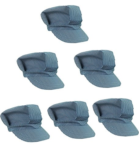 Adjustable Train Engineer Hats - Train Engineer Costume Hats (6 Pack) - Train Thomas Conductor