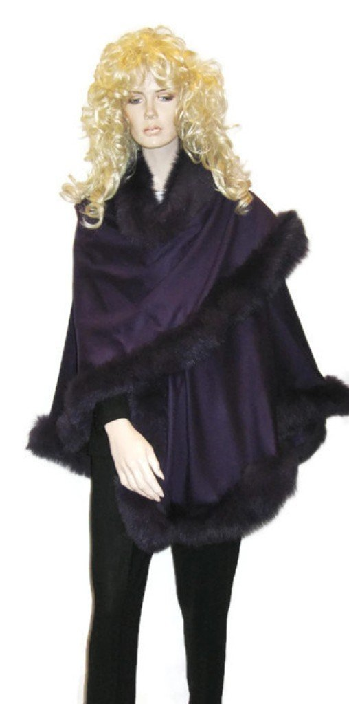 CAPE,CASHMERE CAPE WITH FOX FUR TRIMMING from Cashmere Pashmina Group (DARK PURPLE) by Cashmere Pashmina Group