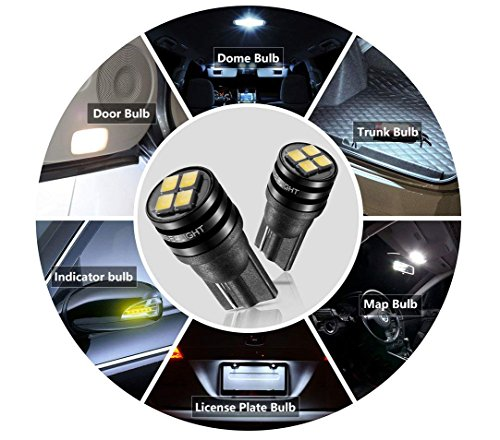 194 LED Bulb, SEALIGHT t10 168 2825 led bulb for Car Dome Map Door Courtesy License Plate Lights, pack of ()