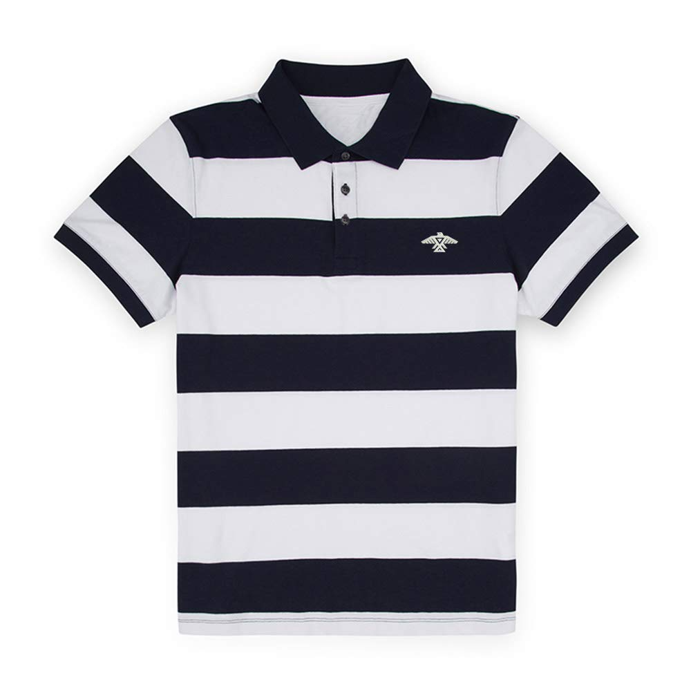 American Indian Thunderbird Embroidered Knit Striped Short Sleeve Polo Shirts