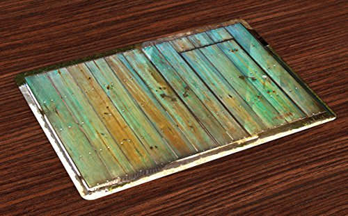 Ambesonne Vintage Place Mats Set of 4, Rustic Old Wood Gate Dated Tuscany House Entrance with Antique Texture Photograph, Washable Fabric Placemats for Dining Table, Standard Size, Mint Brown