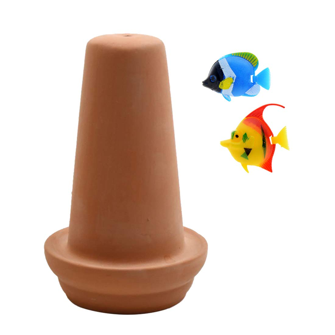 Uotyle Ceramic Spawning Breed Cone Orange Fish Tank Ornaments for Discus Clownfish Angelfish Aquatic Pets Breeding Cones Play Hide Rest 7 Inches
