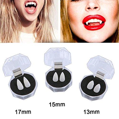 Oun Nana Vampire Teeth for Kids Halloween Party Cosplay Prop Horror Teeth 3 Pairs (13mm 15mm 17mm)