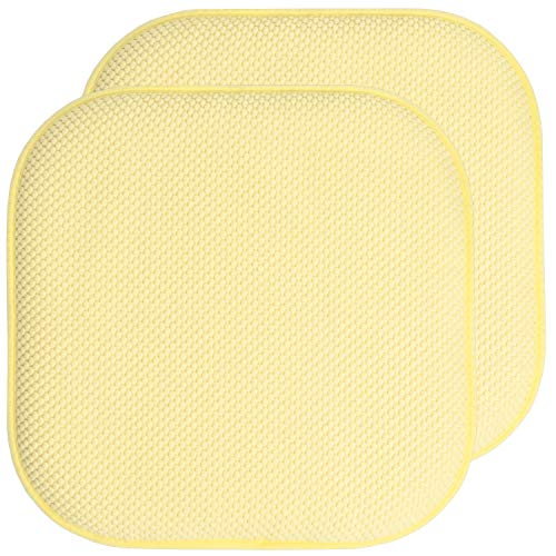 (Sweet Home Collection Chair Cushion Memory Foam Pads Honeycomb Pattern Slip Non Skid Rubber Back Rounded Square 16