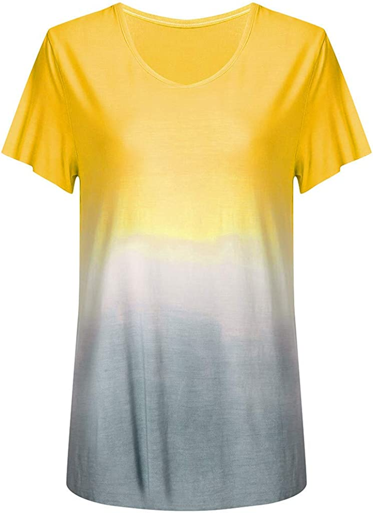 WUAI-Women Summer Gradient Color Graphic Tee Shirts Casual Short Sleeve Tie Dye Loose Tops Tunics Blouse Plus Size
