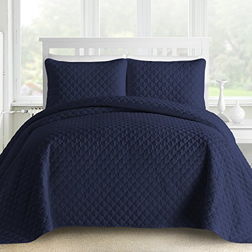Oversized and Prewashed Comfy Bedding Lantern Ogee Quilted 3-piece Bedspread Coverlet Set (King/Cal King, Navy Blue)