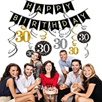 Gold 30th Birthday Decorations for Women //Men,Happy 30th Birthday Banner for Female//Male 30th Birthday 0utfit