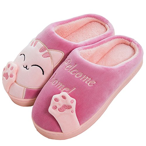Mujeres Cute Cat Animal Plush Slip En Pantuflas Rosa