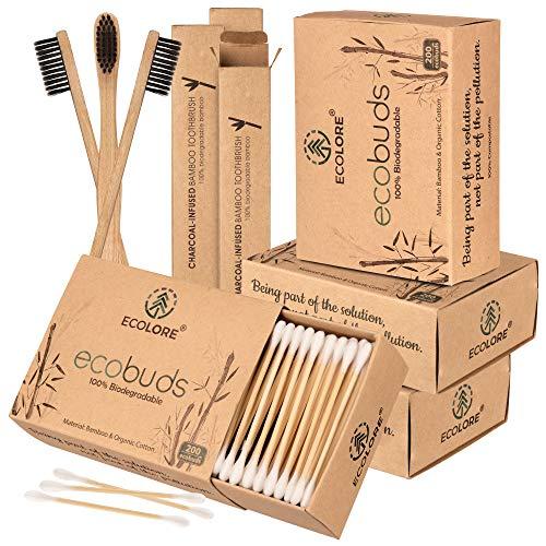 ECOLORE™ 800 Stück Bambus Wattestäbchen + 3 Vegan & Nachhaltig Bambus Zahnbürste gratis | FSC-zertifiziert…