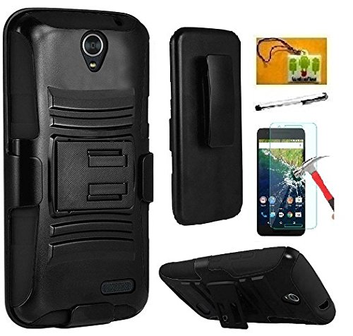 ZTE Warp 7 Case ( Boost), Luckiefind Dual Layer Hybrid Side Kickstand Cover Case With Holster Clip, Stylus Pen, Tempered Glass Screen Protector Accessory (Holster Black)