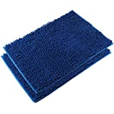 VDOMUS Absorbent Microfiber Bath Mat Soft Shaggy Bathroom Mats Shower Rugs - 2 Pieces (Dark Blue)