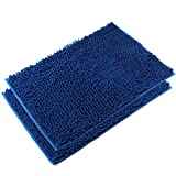 Bathroom Mats Blue VDOMUS Absorbent Microfiber Bath Mat Soft Shaggy Bathroom Mats Shower Rugs - 2 Pieces (Dark Blue)