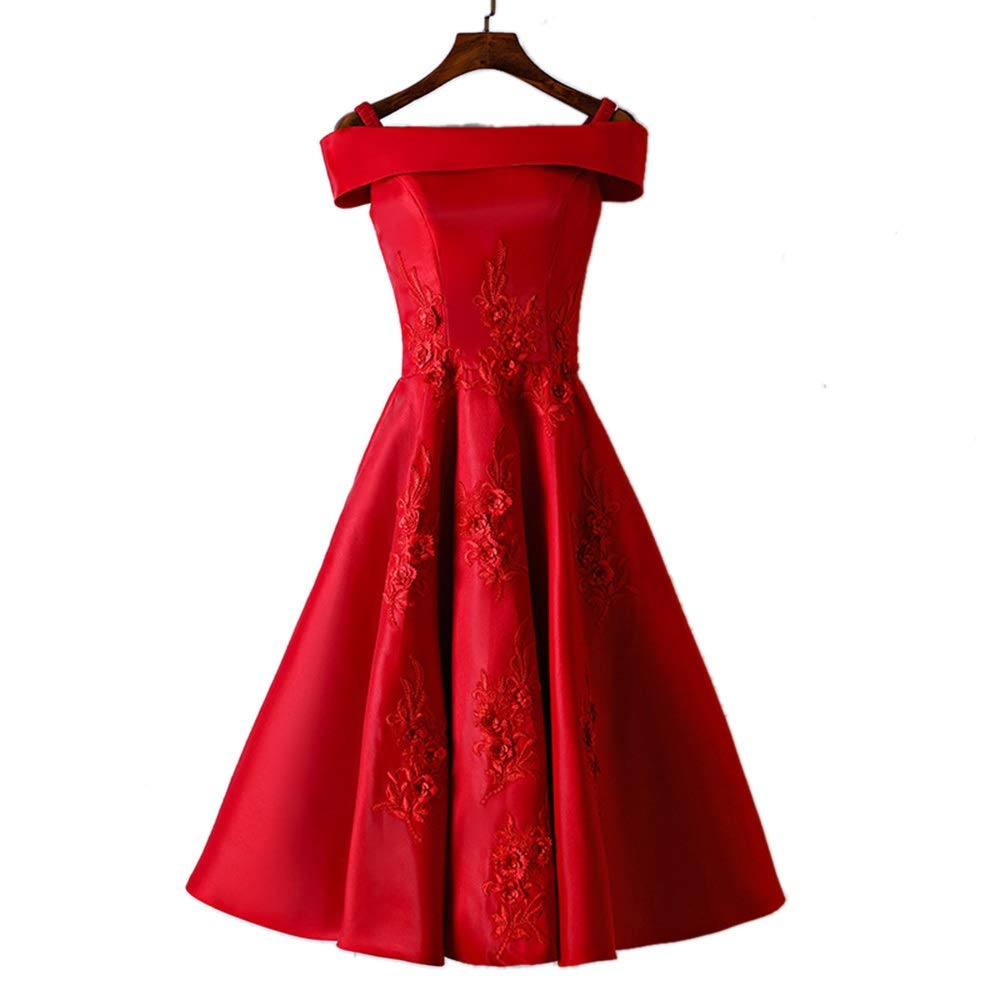 B Kirabon Womens Retro Red OneShoulder Wedding Dress Short Evening Party Cocktail Gown (color   B, Size   XS)