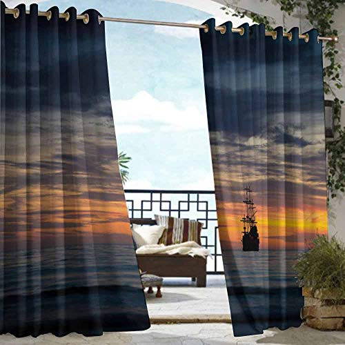 DILITECK Curtains for Bedroom Pirate Ancient Vessel Sailing Ship Floating on Ocean at Idyllic Sunset Maritime Darkening Thermal Insulated Blackout W84 xL72 Dark Blue Yellow Coral (Dunelm Bedroom Furniture Sets)