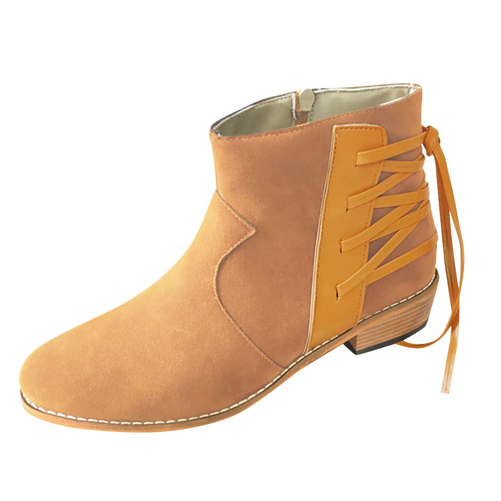 Womens Ankle Boots Booties,Ladies Fashion Retro Ankle Thick Cross Tie Zipper Short Boots Solid Casual Shoes